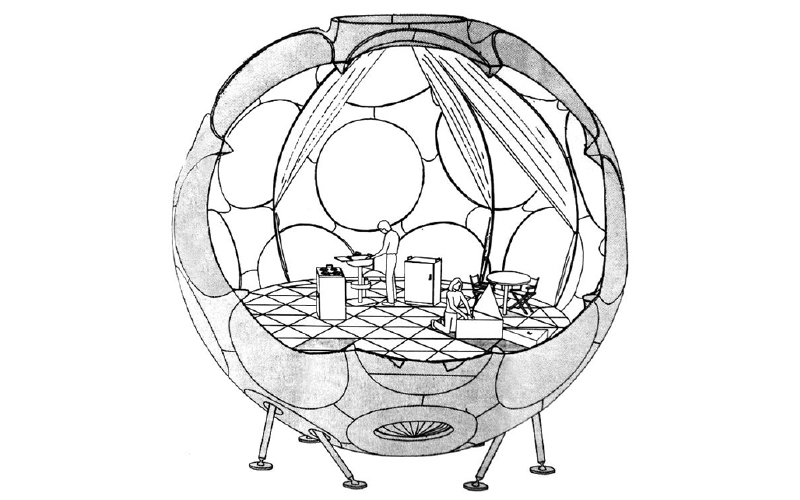 Figure 7. Fuller's drawing of a 24-foot Fly's Eye Dome. The stilts and bottom 3/8 of the building were removed in the actual prototype, leaving a building that sits flat on the ground.