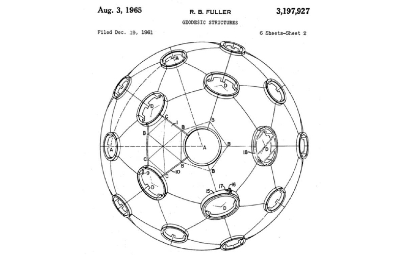 Figure 1. Fuller's patent of 1965 shows a sphere with openings that have less than 25 percent of the surface in window spaces.