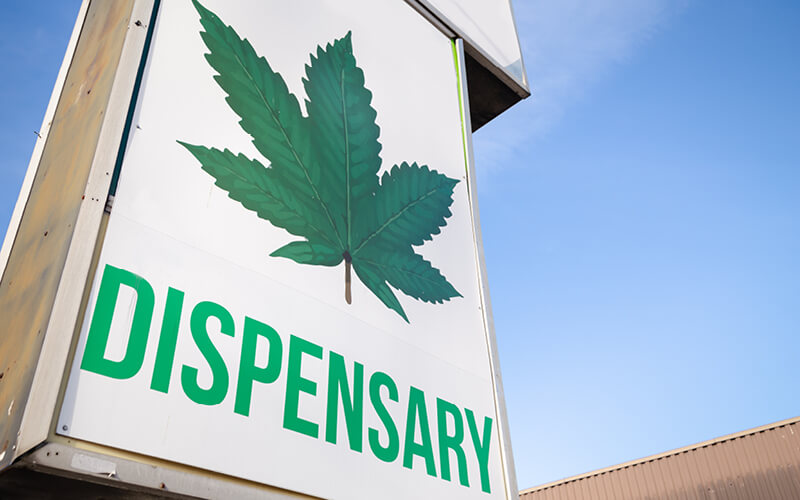 Sign outside a cannabis dispensary