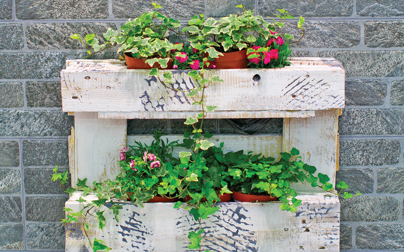 pallet planter filled with flowers and ivy plants