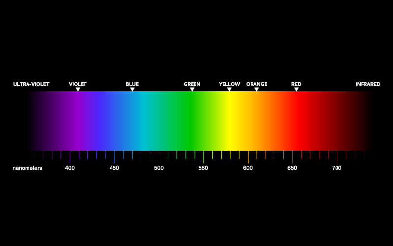 Graph of the visible light spectrum.
