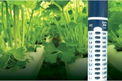 Photo of an EC meter in a hydroponic garden.