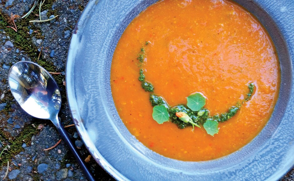 Photo of cannabis-infused tomato soup in a bowl.
