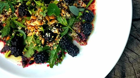 Enjoy these lightly pickled berries in this thoroughly nourishing hemp salad.