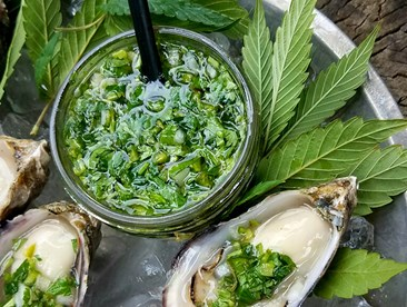 Plate containing oysters with cannabis garnish.