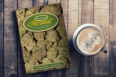 Ed Rosethals book Marijuana Harvest on a table with a cup of coffee