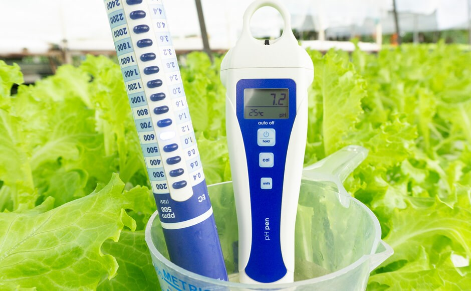 pH meter and measuring cup used to mix hydroponic nutrients